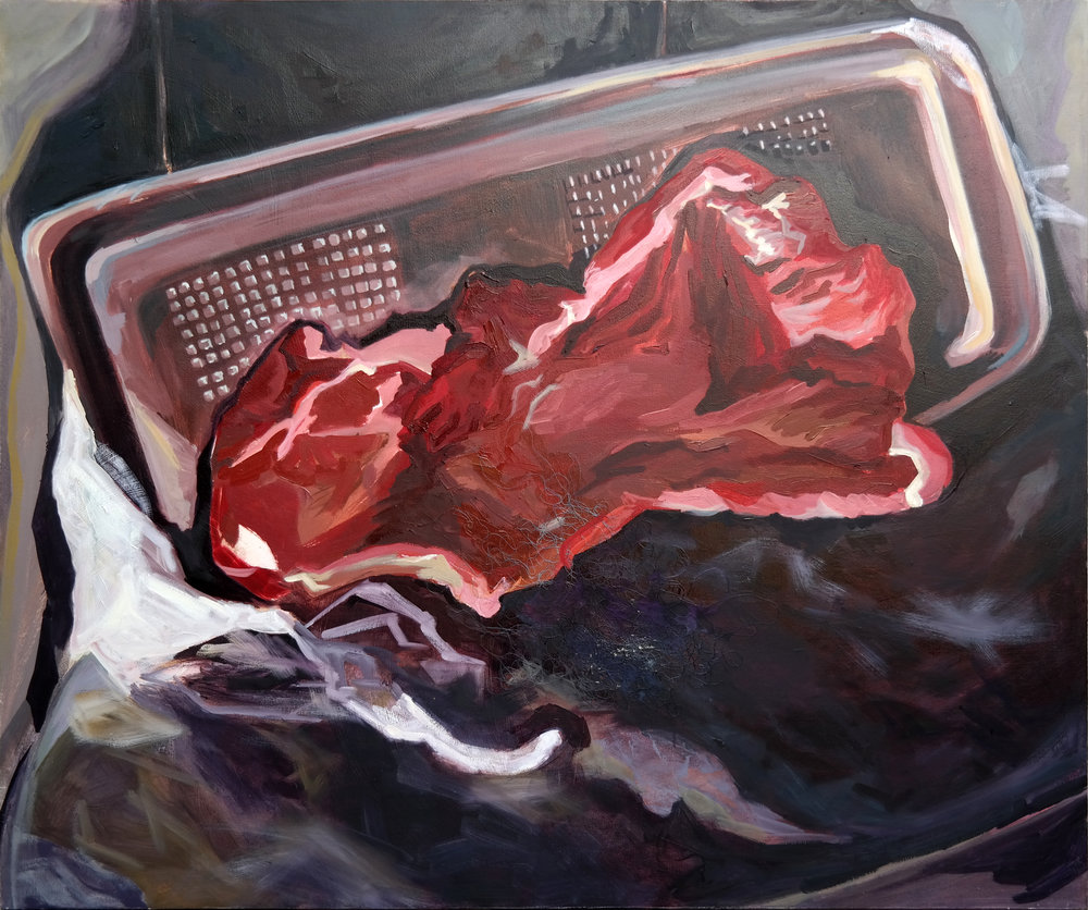 "2. The Raft,2014,Oil Paint and String on Canvas, 48""x40"".jpg"
