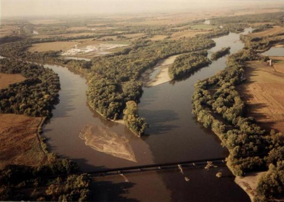 Photo of the confluence of the Iowa (left) and Cedar (right) Rivers.