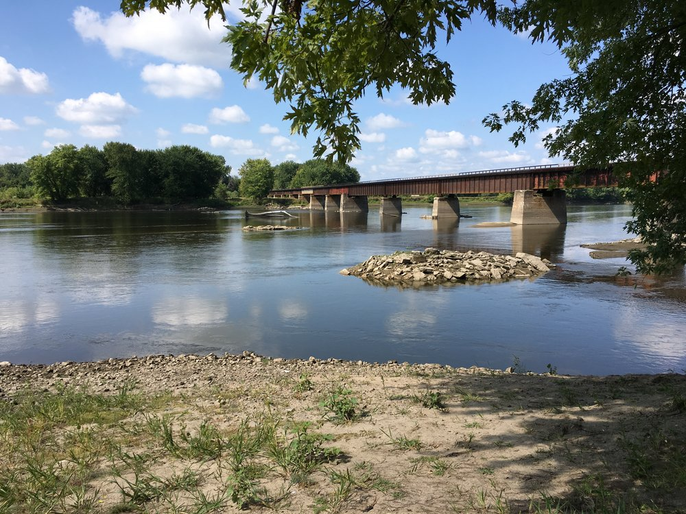 The pilings from the old wagon bridge are still visible at low water levels on the Iowa River at the River Forks Boat Access, Fredonia