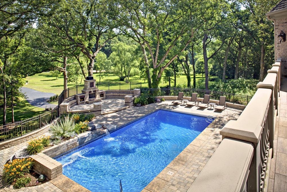 Custom Pool in Oak Brook IL.  Custom Limestone Balusters