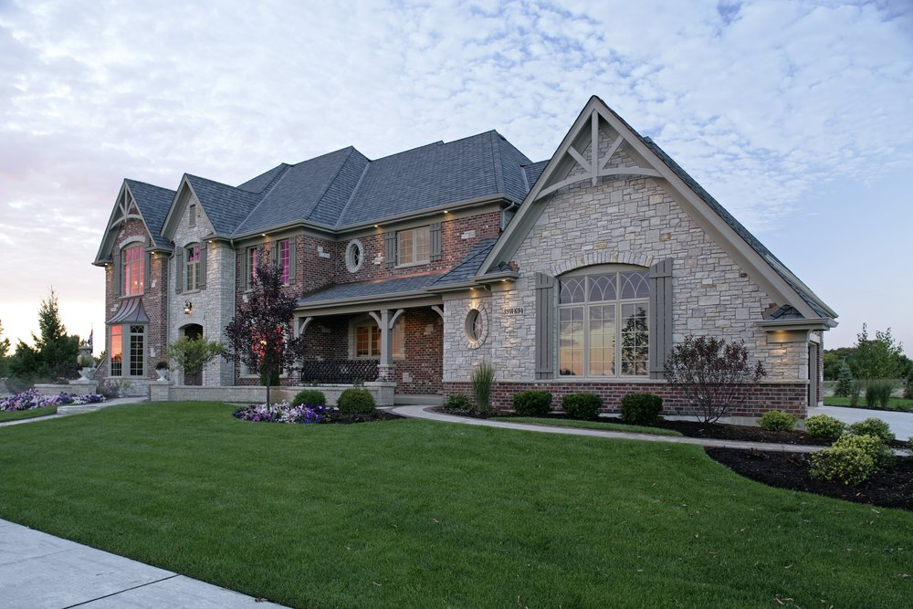 Custom Prairie Lakes Home in St. Charles IL 60175. By Southampton Builders LLC. Stone and Brick Combination.
