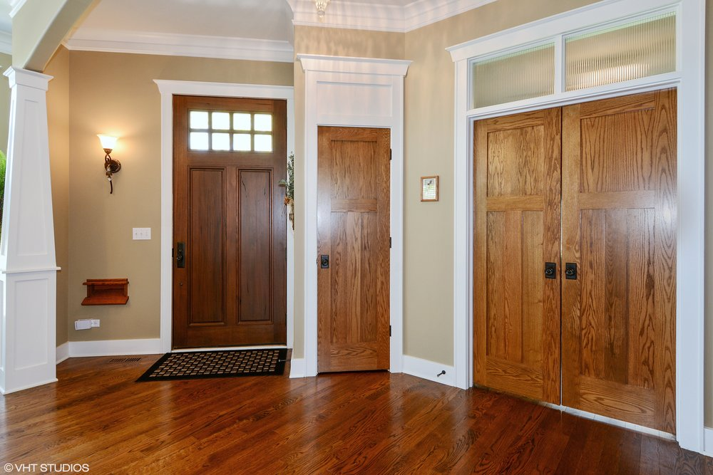 Solid Walnut Front Door in this St. Charles IL Custom Home Remodel