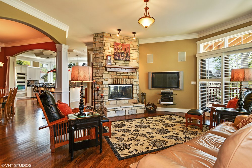 Rustic Family Room Fireplace in this Downers Grove Home Remodel