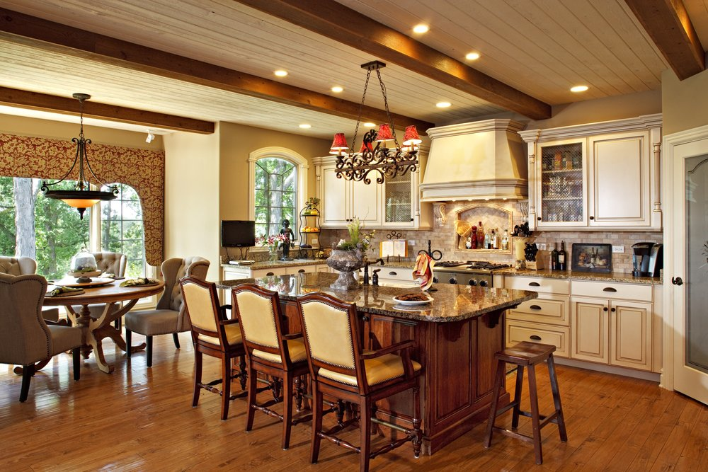 French Country Kitchen with Beams