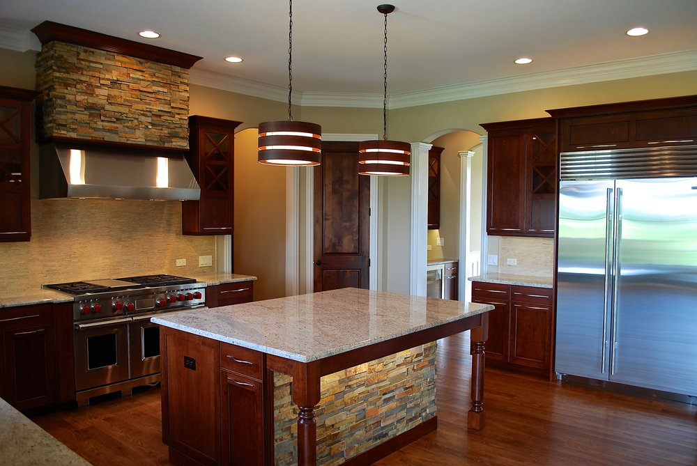 Transitional Stained Kitchen with Stacked Stone in Wheaton IL