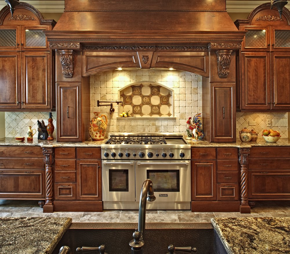 Luxury Home Kitchens: Custom Hand Carved Kitchen Hood