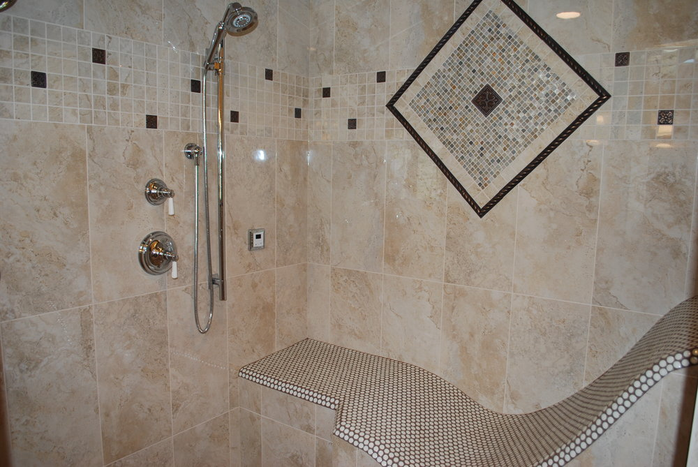STEAM SHOWER WITH RECLINING BENCH IN BATAVIA IL REMODEL. SOUTHAMPTON