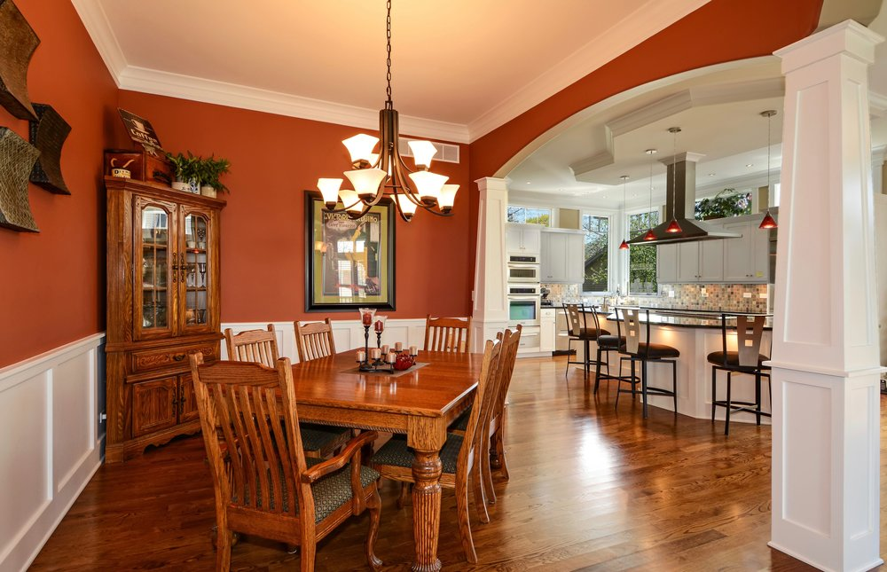 ARCHED DINING ROOM WITH CRAFTSMAN PILLARS