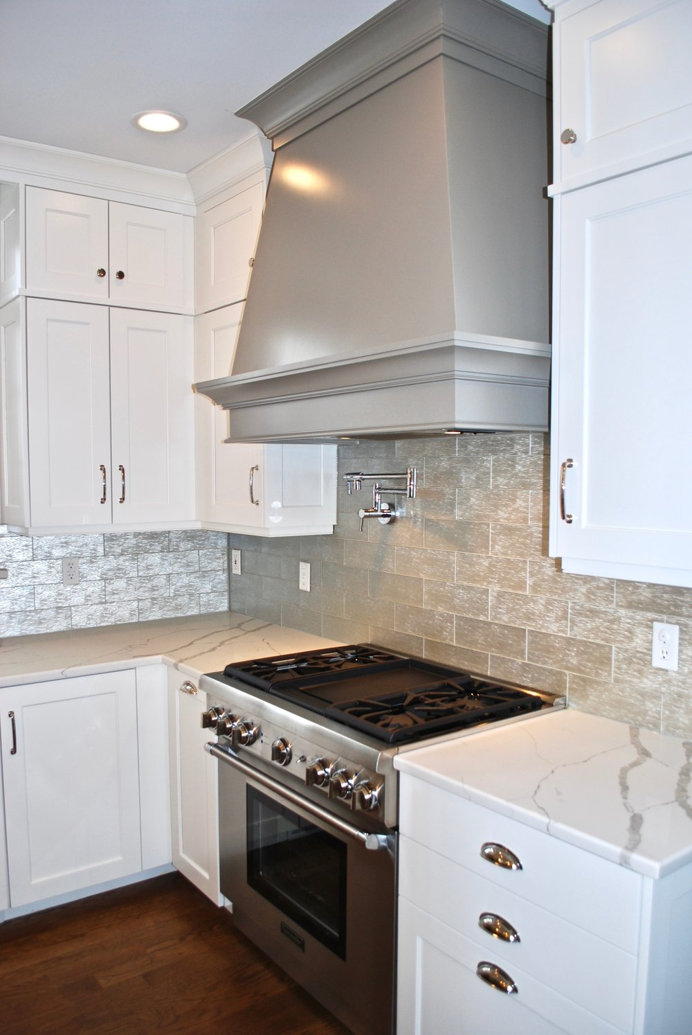 Grey Custom Hood & White Cabinetry