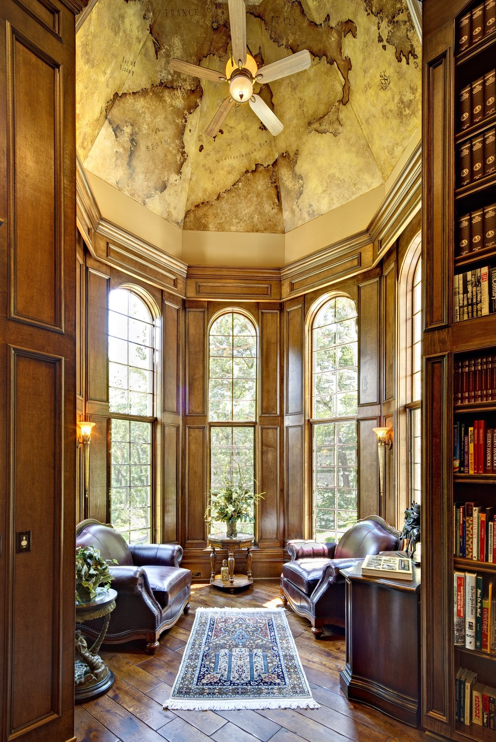 Custom Home Study by Southampton Builders LLC. Turret Libary with Old Wolrd Map Fresco.