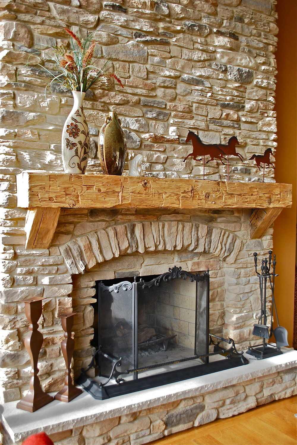 Stacked Stone Fireplace Remodel with Custom Barn Wood Mantle