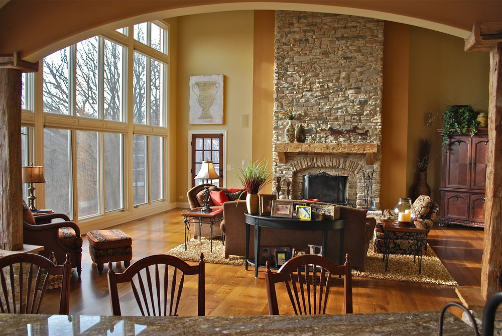 Stacked Stone Fireplace Remodel in Barrington IL