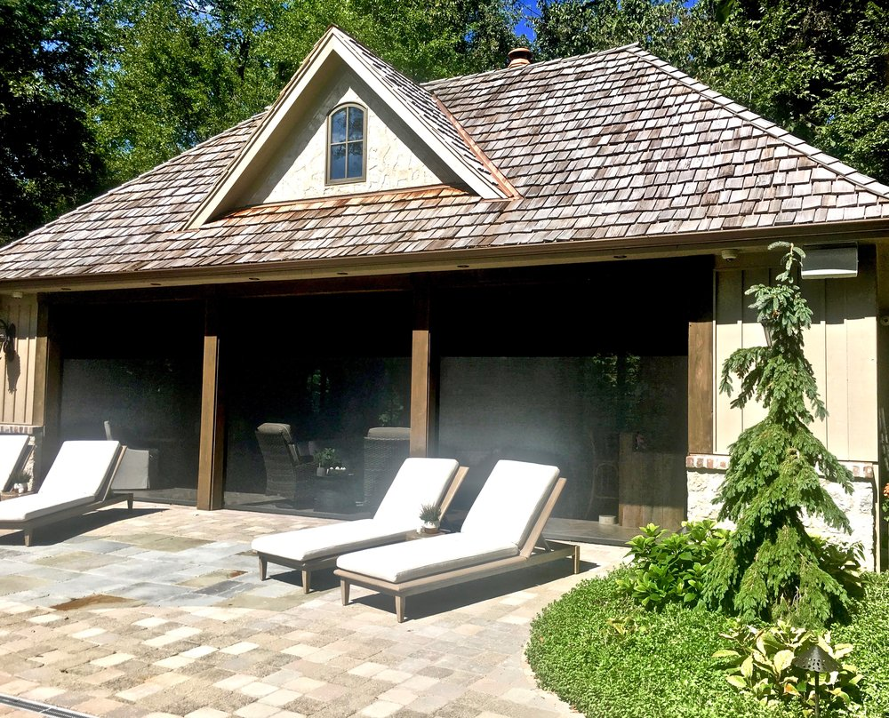 FRENCH COUNTRY POOL HOUSE WITH RETRACTABLE ROLL DOWN SCREENS