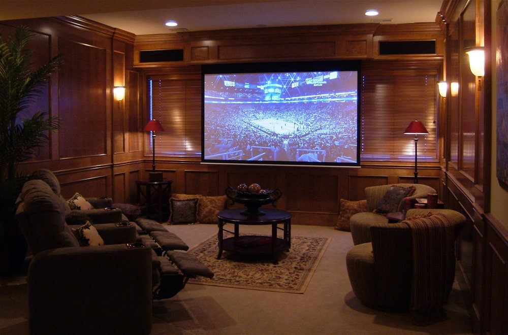 PRAIRIE LAKES SUBDIVSION IN ST. CHARLES IL FINSIHED BASEMENT THEATER ROOM BY SOUTHAMPTON
