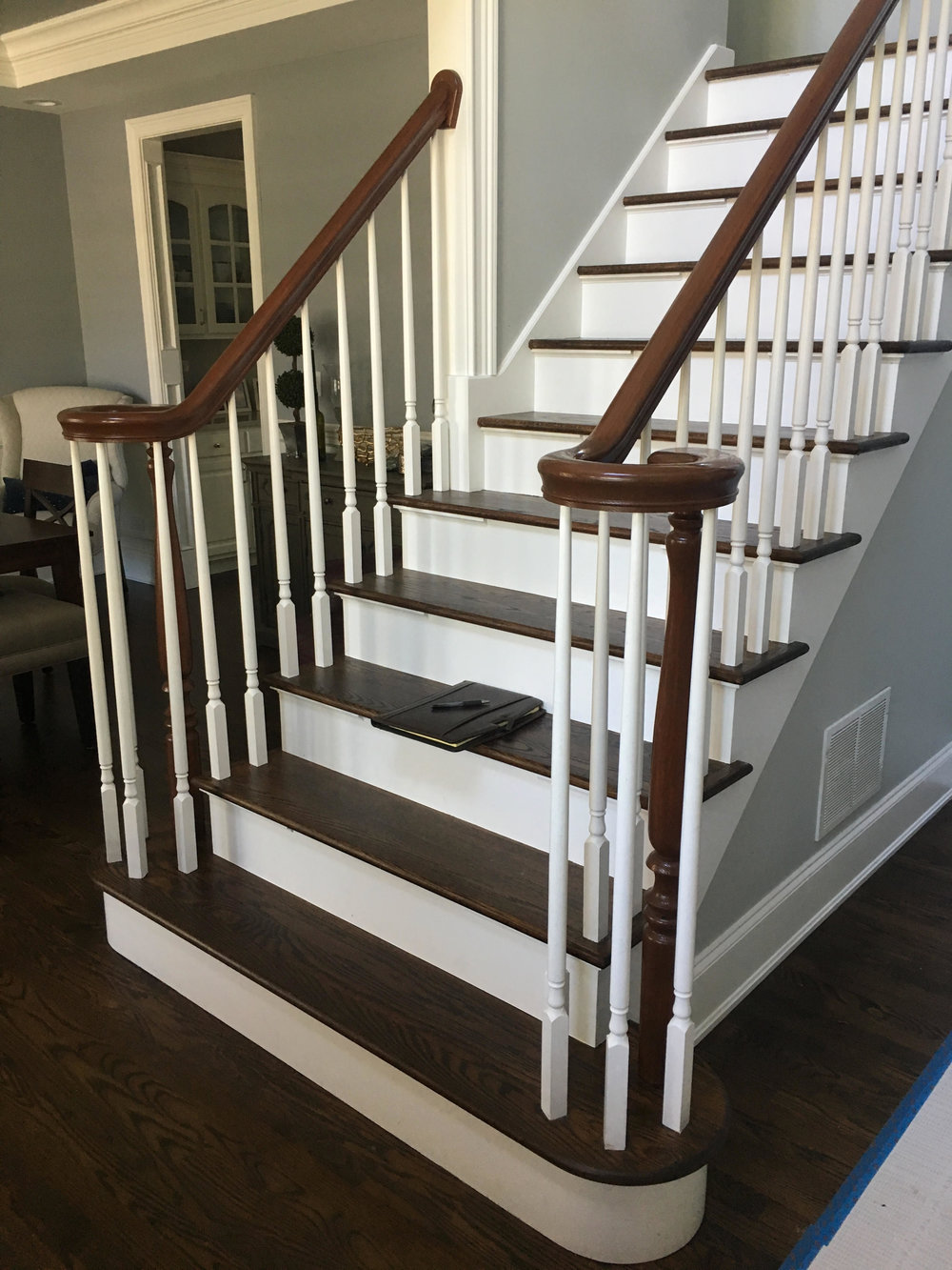 Foyer Staircase Remodeling Before Photo by Southampton Builders LLC. Located in Geneva IL.