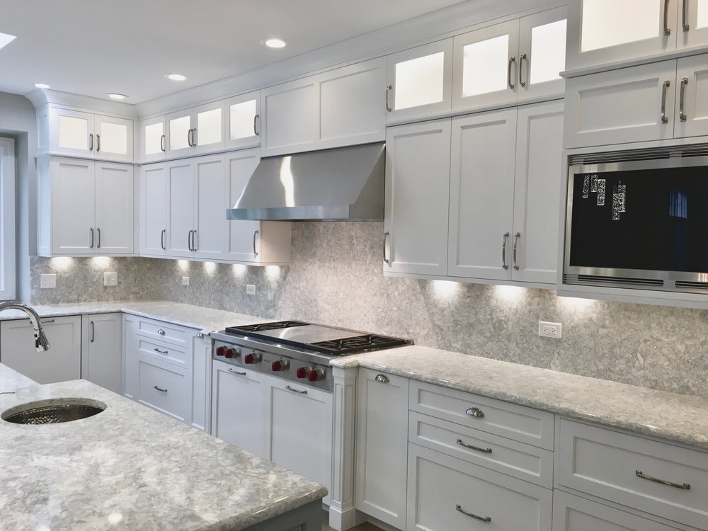 DOUBLE STACK LIGHTED CABINETRY IN DOWNERS GROVE IL