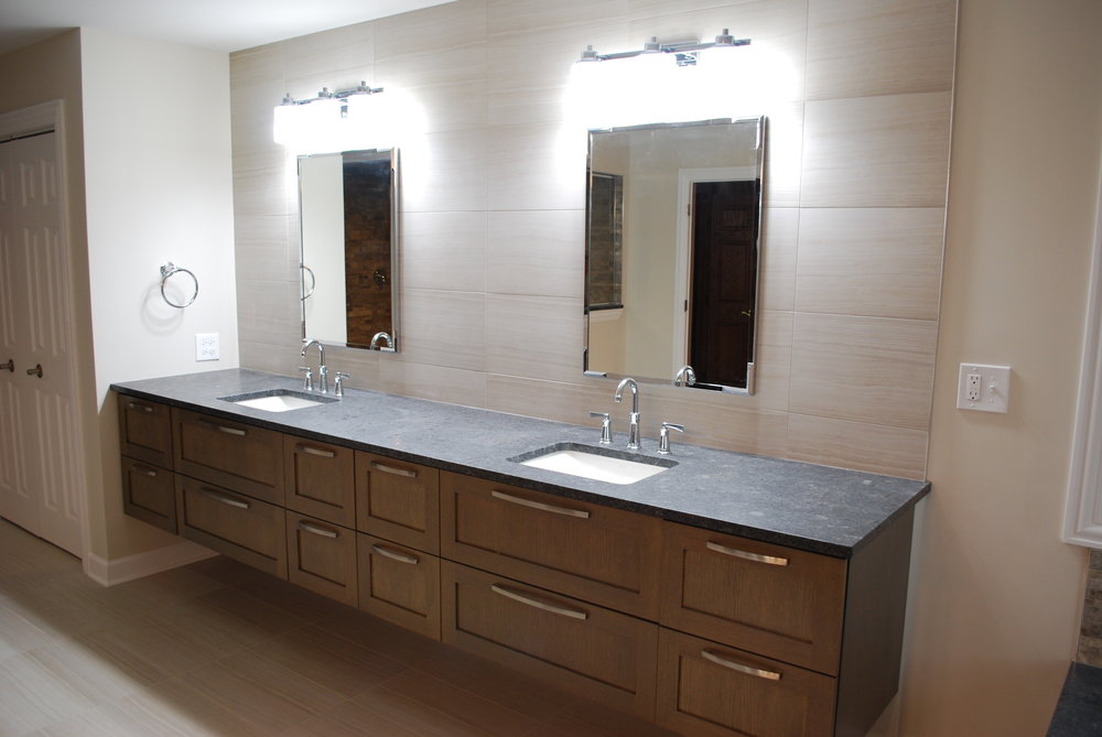 NAPERVILLE IL. BATHROOM VANITY REMODEL WITH FLOATING WALNUT CABINETRY