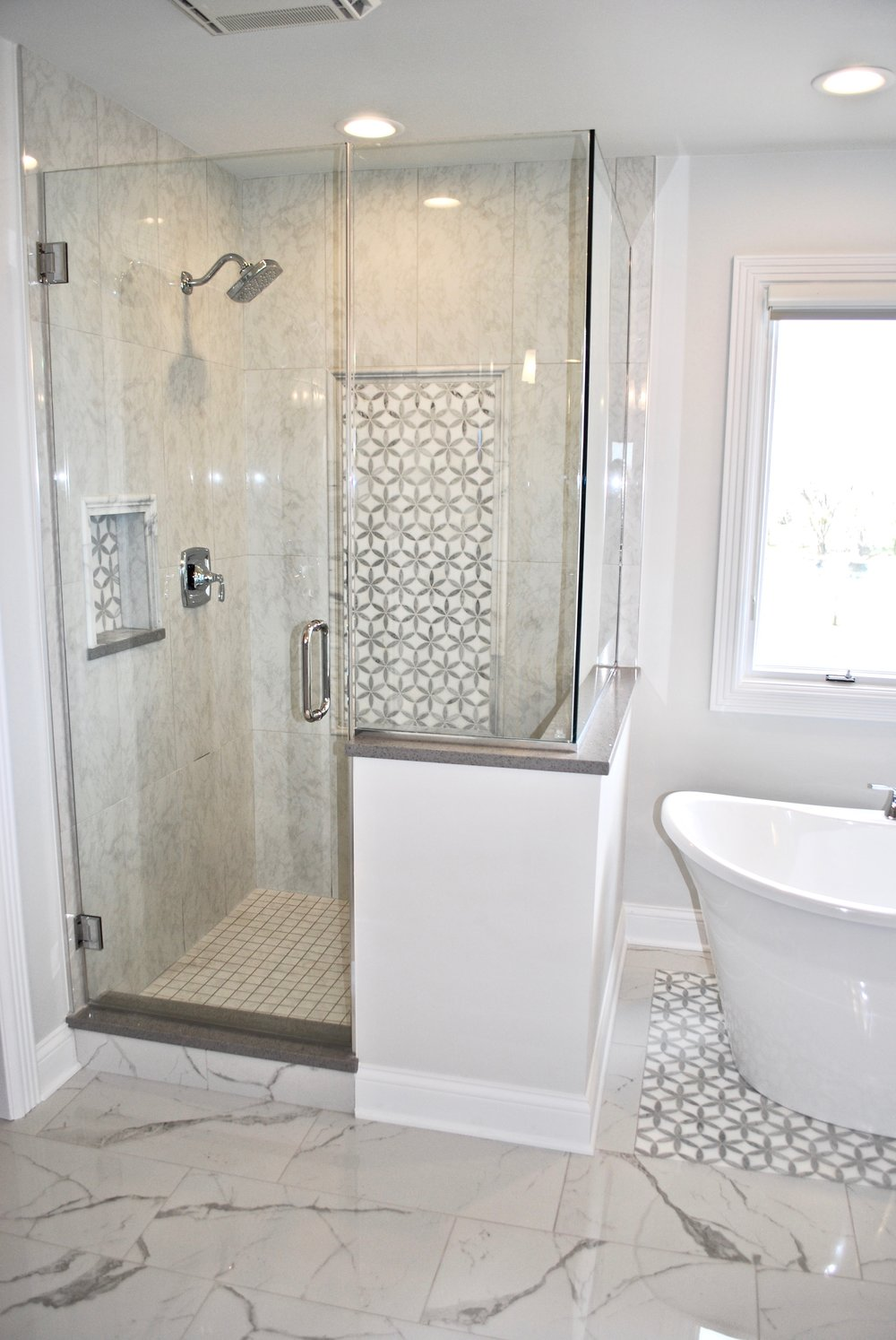Outdated St. Charles Shower- Marble Grey Bathroom Remodel - AFTER.jpg