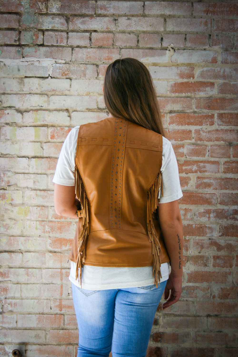 Brown Leather with Fringe Available in Black and Matching Leather Jacket XS-5X