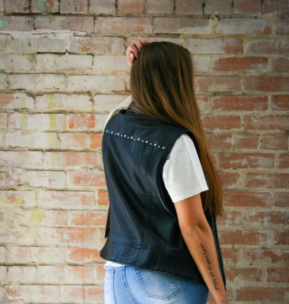 Old School Snap Down Front Collar Vest with Studs S - 5X In House Label