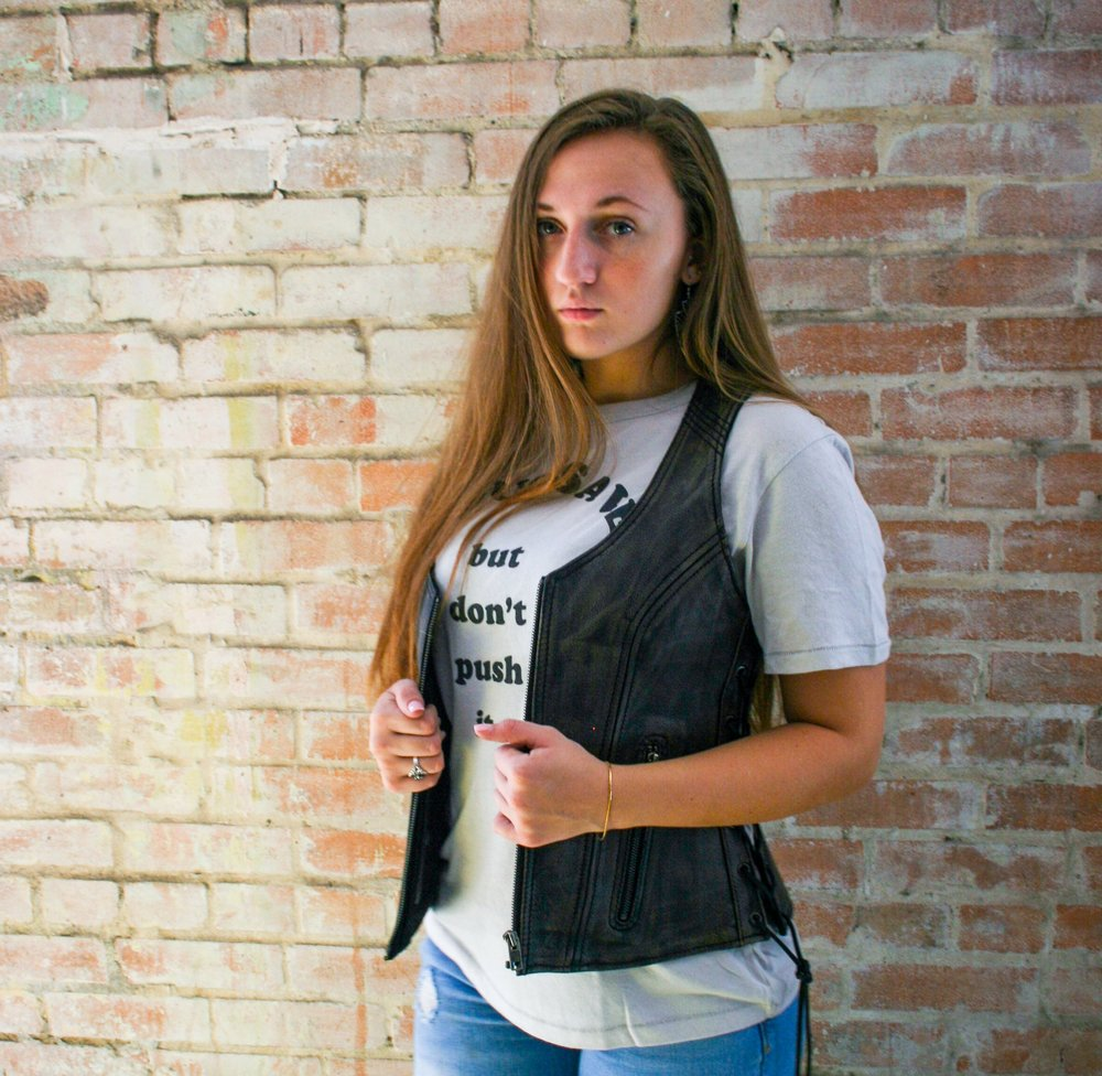 Distressed Brown Leather Vest with Lace Sides Zip Front XS - 5X