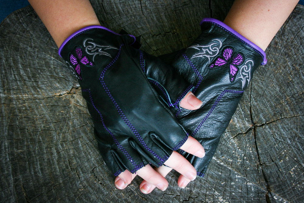 Fingerless with Purple Butterflies