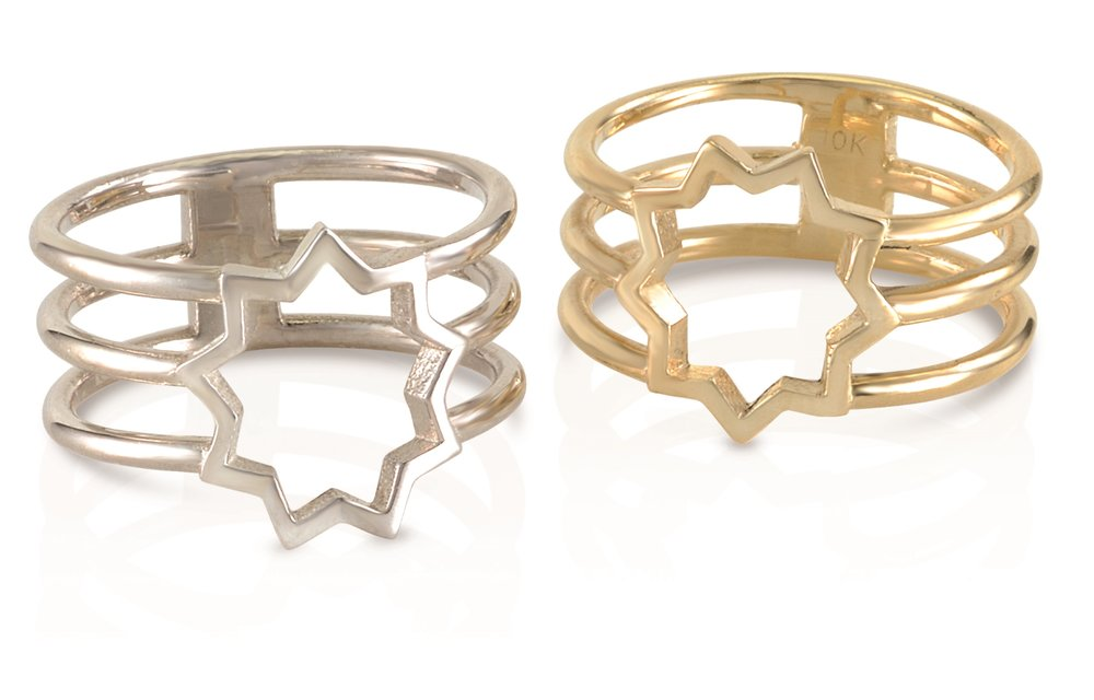 9 POINTED STAR RINGS | In 10 and 18 karat gold, and silver, with or without hand engraved scroll motif.