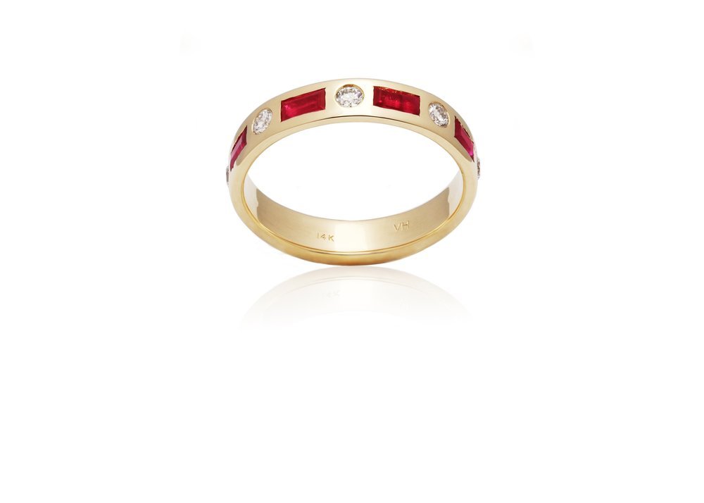 RUBY ETERNITY BAND | Certified 14 karat yellow gold band with eight flush set natural round brilliant cut diamonds, VS, G-H, Good Cut, 0.40 TCW, and eight mixed natural cut rubies.
