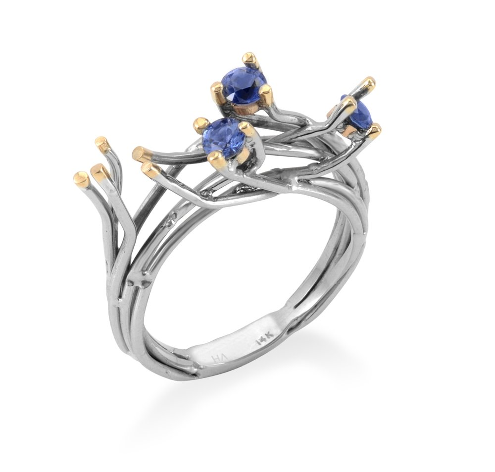 SAPPHIRE WIRE RING | Certified 14 karat white gold with 14 karat yellow gold tips and three natural Ceylon Sapphires (0.68 TCW)