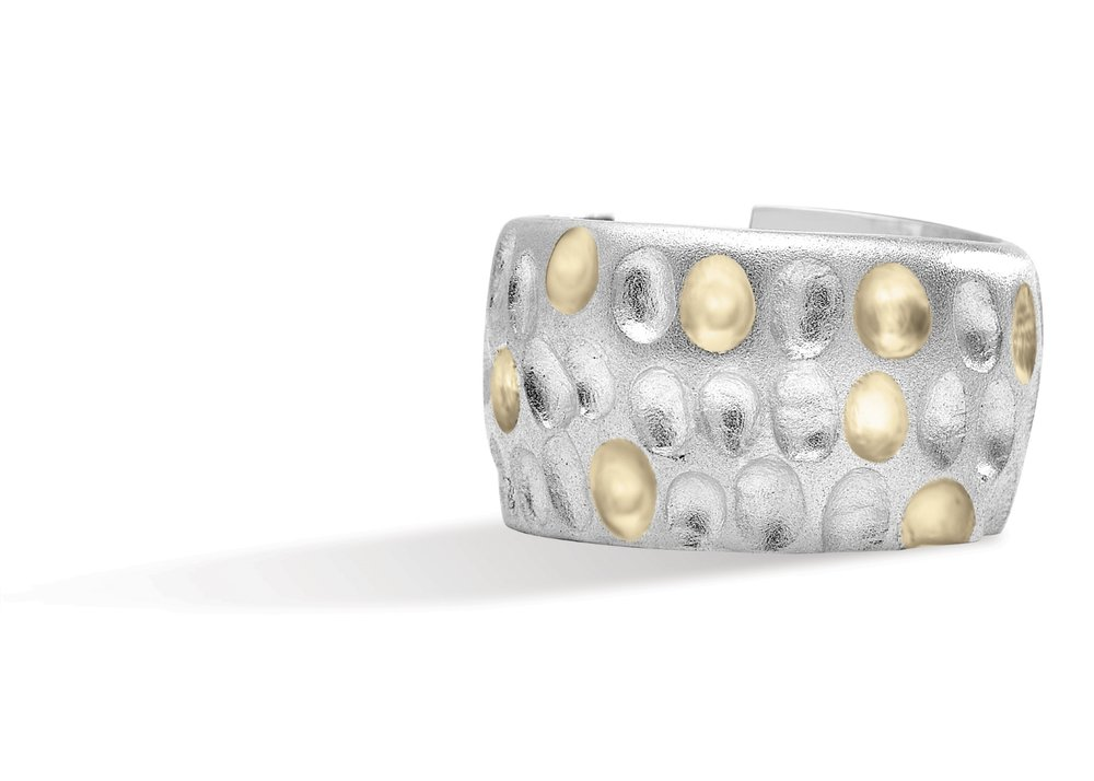 DIMPLE RING | Free form silver ring with sandblasted finish, and 10 karat yellow gold burnished accents for contrast.