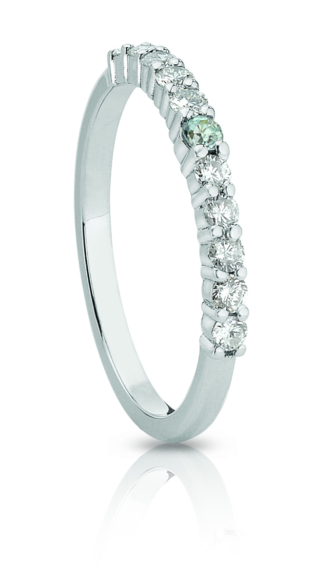 HALF ETERNITY BAND | Certified 14 karat white gold wedding band with ten diamonds, SI-2 to I-1, G-H, Good Cut (0.27 TCW), and a centre aquamarine.