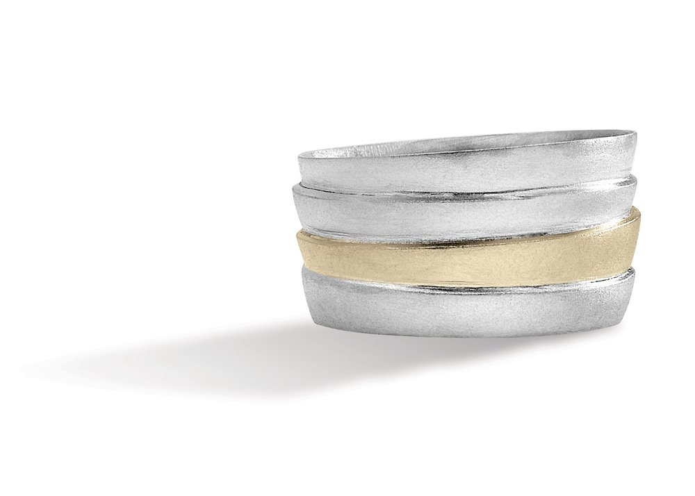 STACKED RING | Permenantly fused silver and 10 karat yellow gold stacked ring with a sandblasted finish.