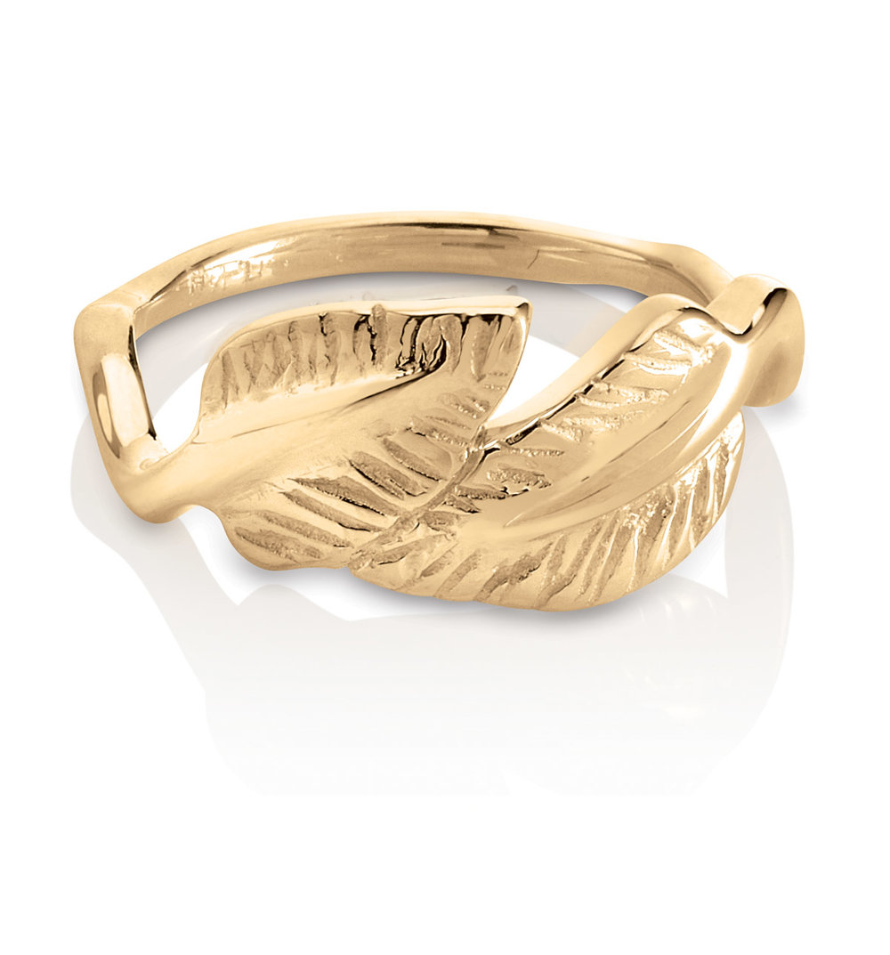 DOUBLE LEAF RING | 18 karat yellow gold double leaf ring, a re-creation of a sentimental piece from a friends visit to the Baha'i Holy Lands in Haifa, Israel.