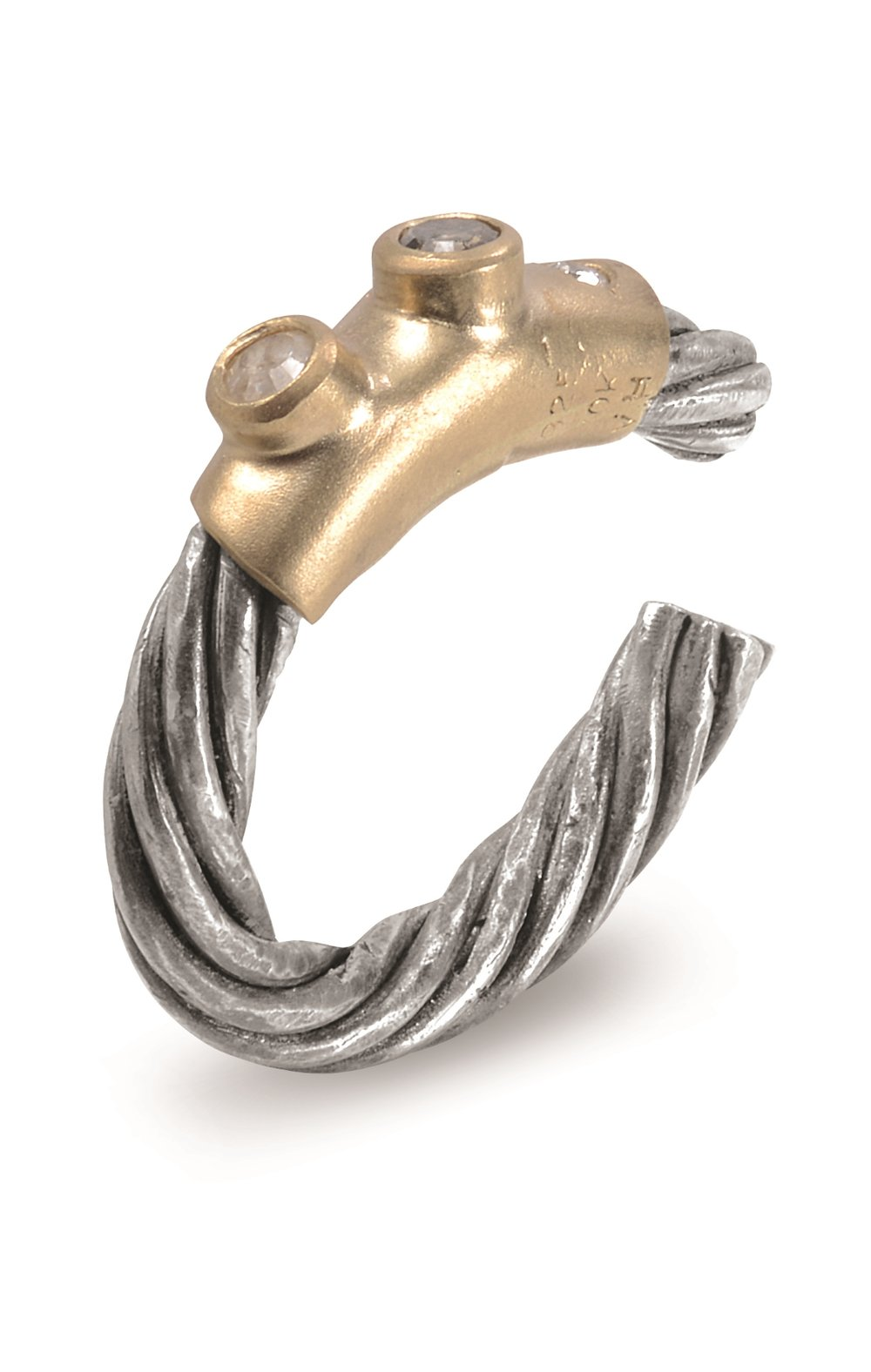 CABLE RING | Certified adjustable cable ring with buffed, oxidized, and twisted silver shank, with a sandblasted 10 karat yellow gold accent containing gypsy and bezel set round brilliant and rose-cut diamonds in white, yellow, and gray-brown.