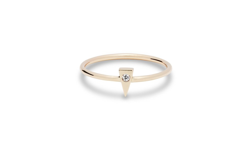 MODERN RING | 10 karat yellow gold with a flush set natural 1.5mm diamond