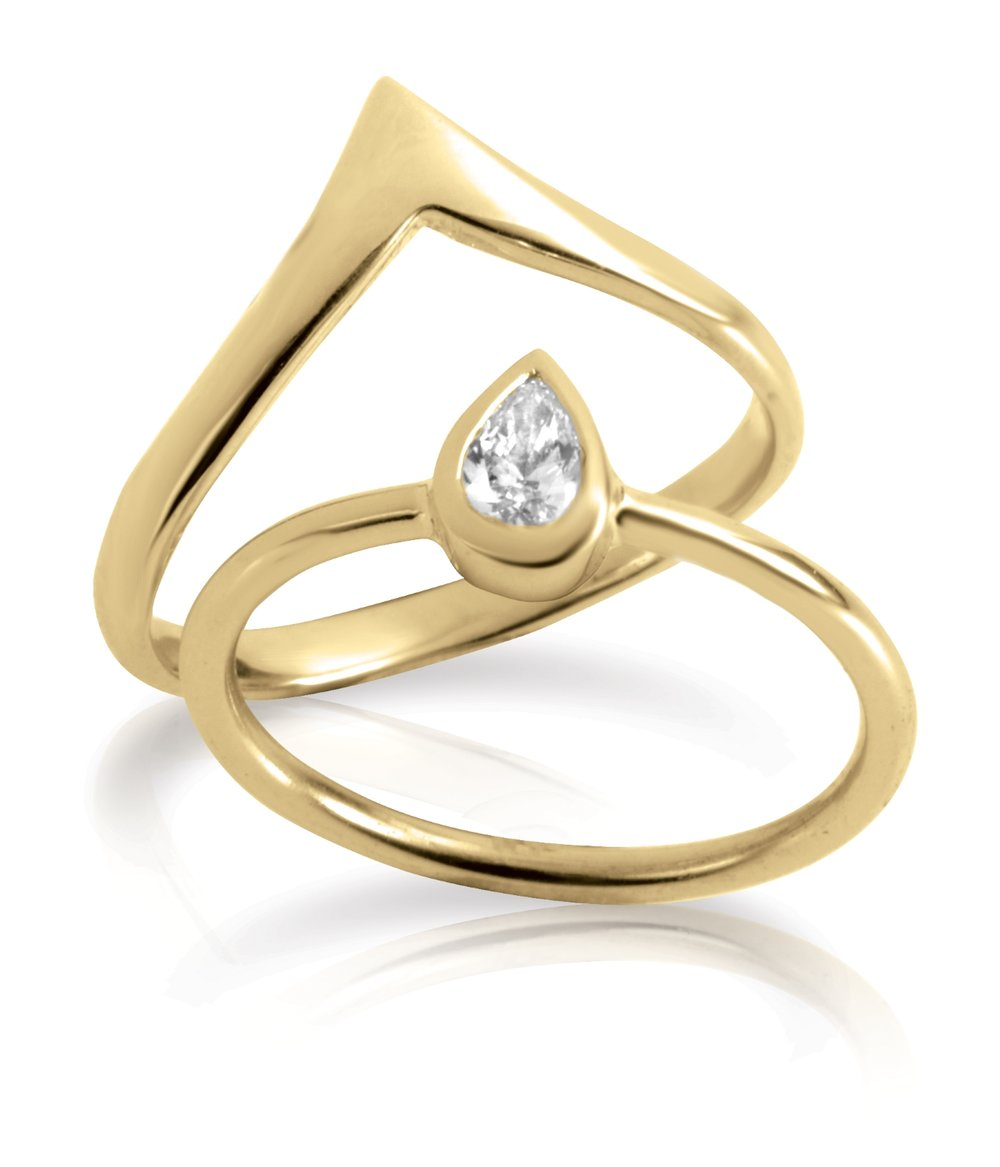 WEDDING BAND & RING | Certified thin modern wedding band and matching ring in 14 karat yellow gold, and a 0.15 carat bezel set natural pear shaped diamond.