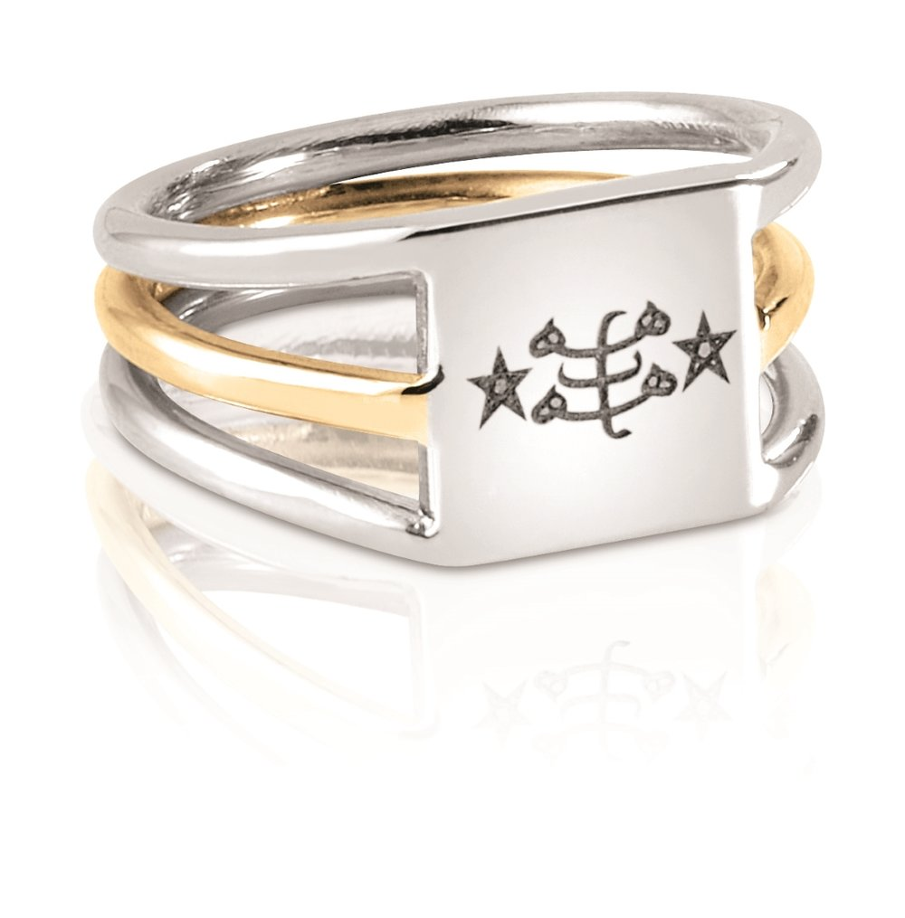 TWO TONED RING | Fabricated 10 karat yellow and white gold ring with laser engraved Ringstone Symbol.