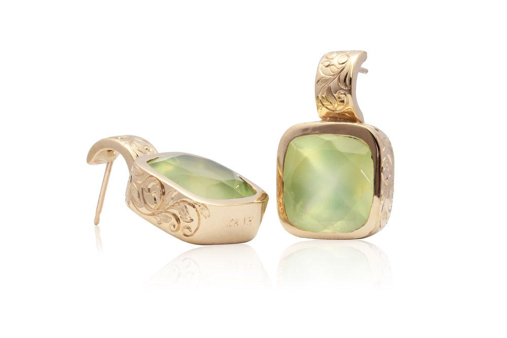PREHNITE EARRINGS | hand engraved 10 karat yellow gold earrings with two 3.0 carat natural cushion cut prehnites.