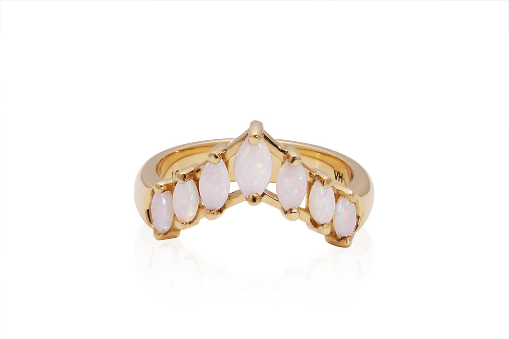 OPAL ENGAGEMENT RING | Certified cast 18 karat yellow gold engagement ring with seven graduated natural fire opal cabochons