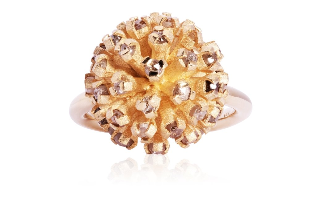DANDELION RING | 10 karat yellow gold ring with rose-cut mixed fancy colour natural diamonds, and a sandblasted head.