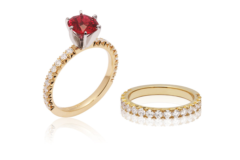 RUBY ENGAGEMENT RING | Certified engagement ring in 18k yellow gold and platinum, with 0.31TCW hearts-and-arrow diamonds in fishtail setting, and a 1.19 carat natural unheated cushion cut ruby (AIGS certified)