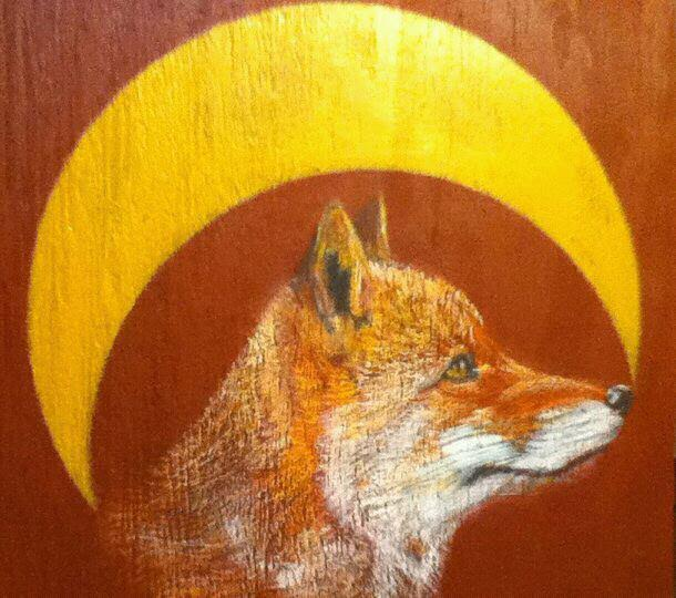 """The Fox & The Crescent"" (Prismacolor and acrylic paint on wood, 12""x12"") by Nathaniel Luke Crowson. [2011]"