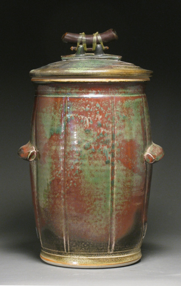 "Compost jar  13"" tall  Glazes: white shino and Rob's green"