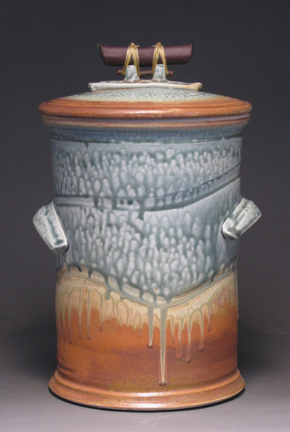 "Fermentation jar 12"" tall Glazes: blue ash and matte rust"