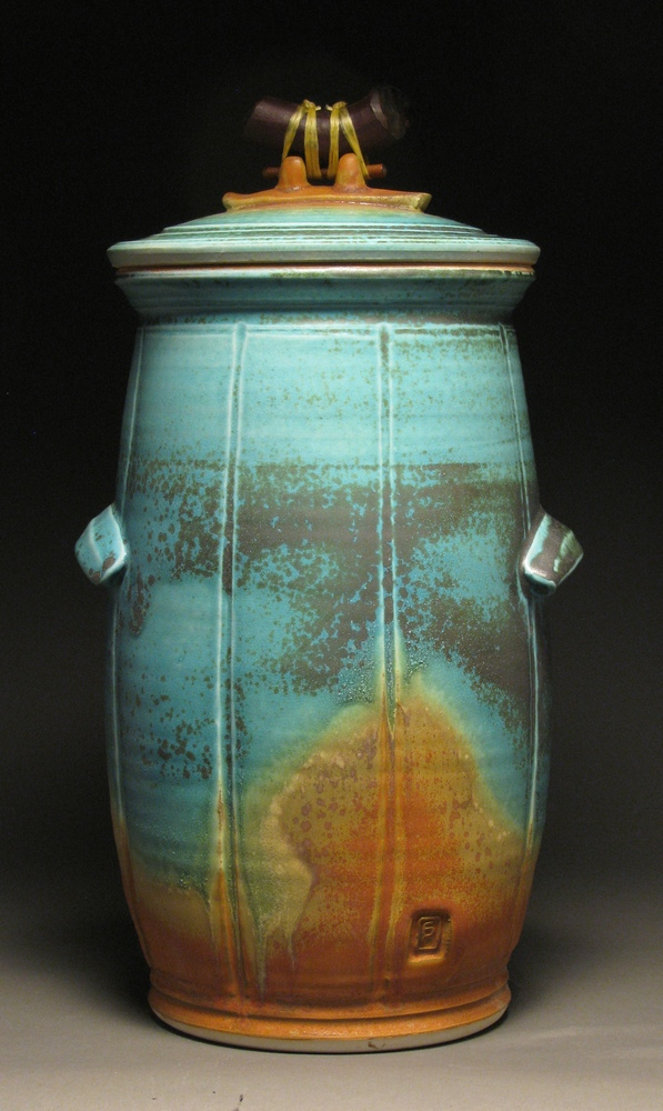 "Lidded jar  15"" tall  Glazes: matte turquoise and matte rust"