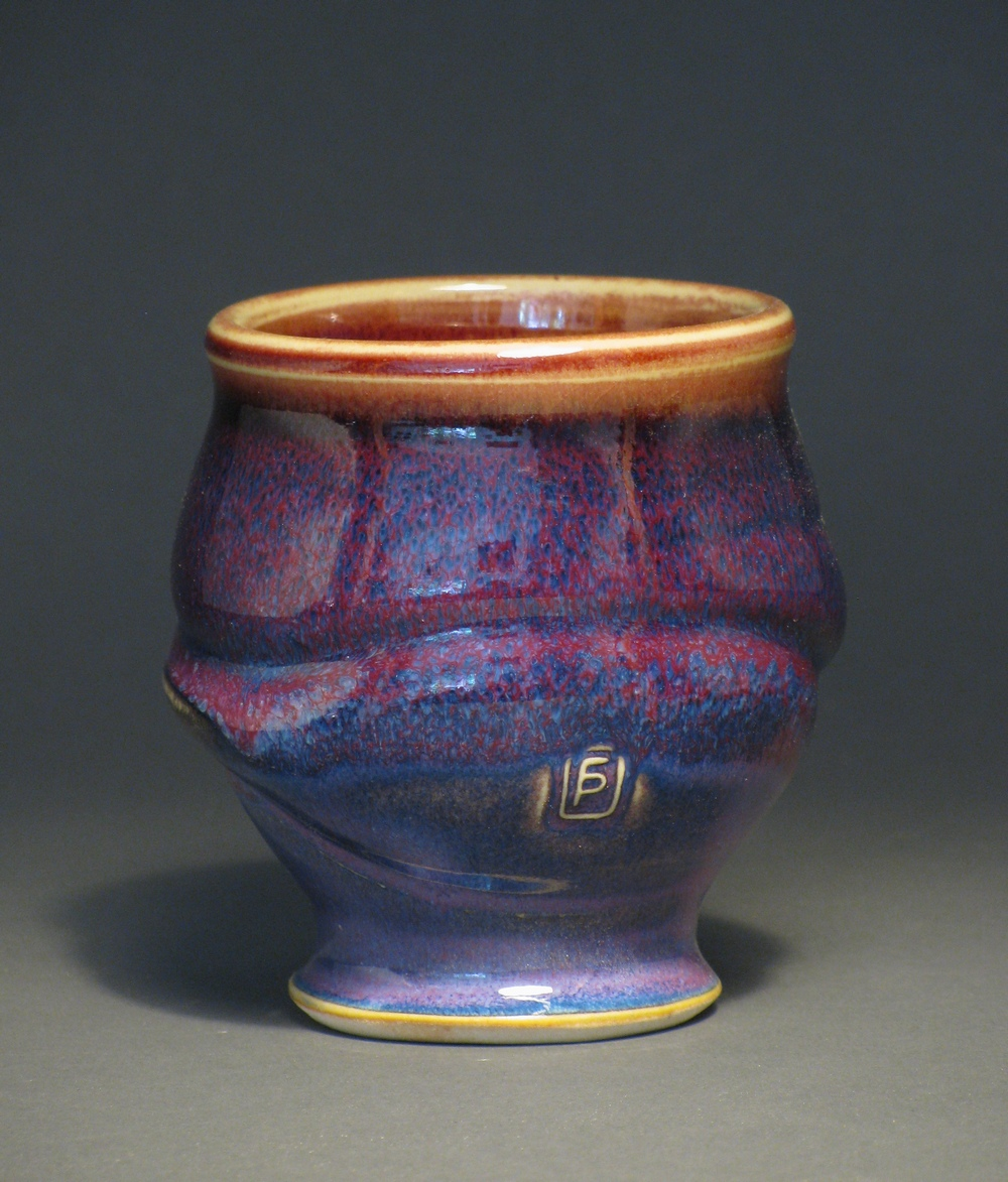 "Teacup 3.5"" tall Glazes: purple haze and copper red"