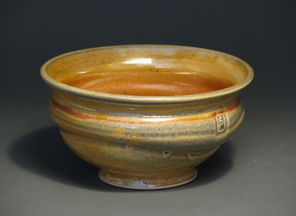 "Soup bowl  6.5"" diameter  Glaze: Davis shino"