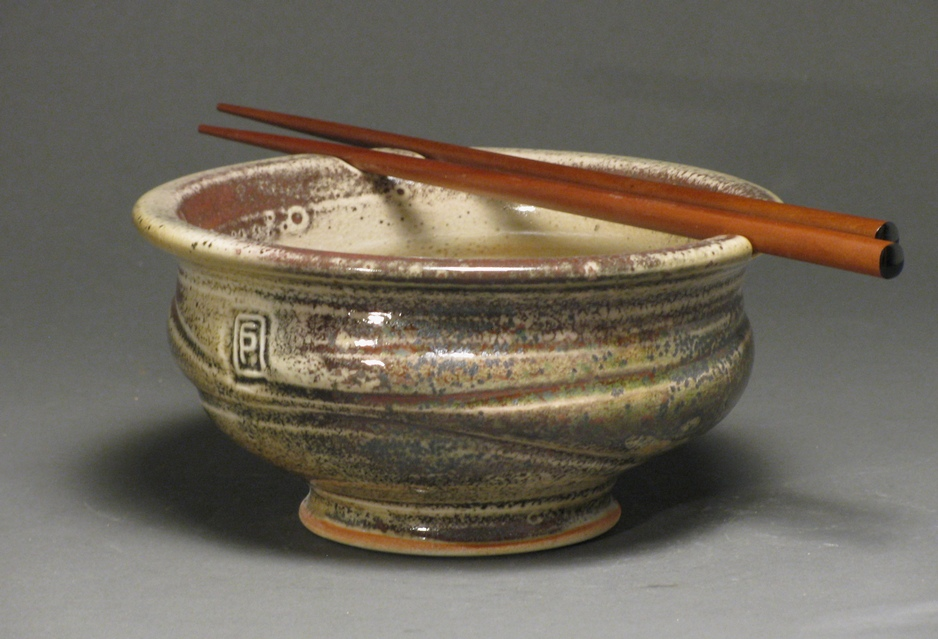 "Noodle bowl  6"" diameter  Glazes: white shino and Rob's green"