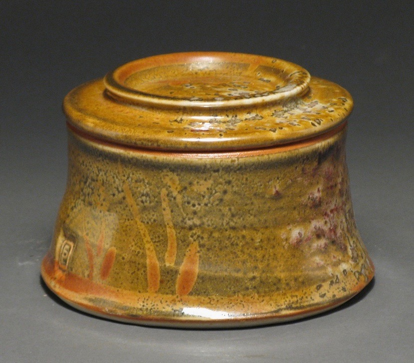 "Butter crock  3"" tall  Glaze: Davis shino"
