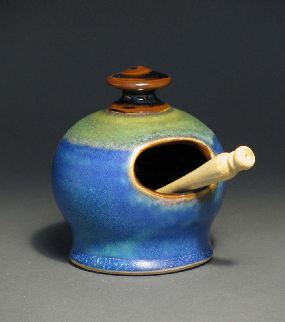 "Salt cellar  4"" tall  Glazes: matte blue and temmoku"